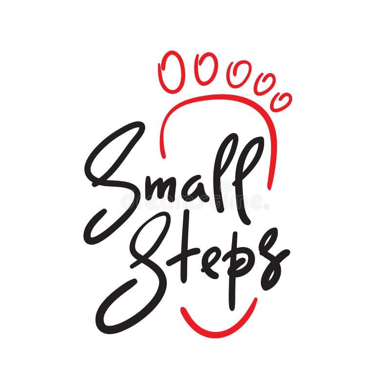 Etapas pequenas - simples inspire e citações inspiradores ilustração stock