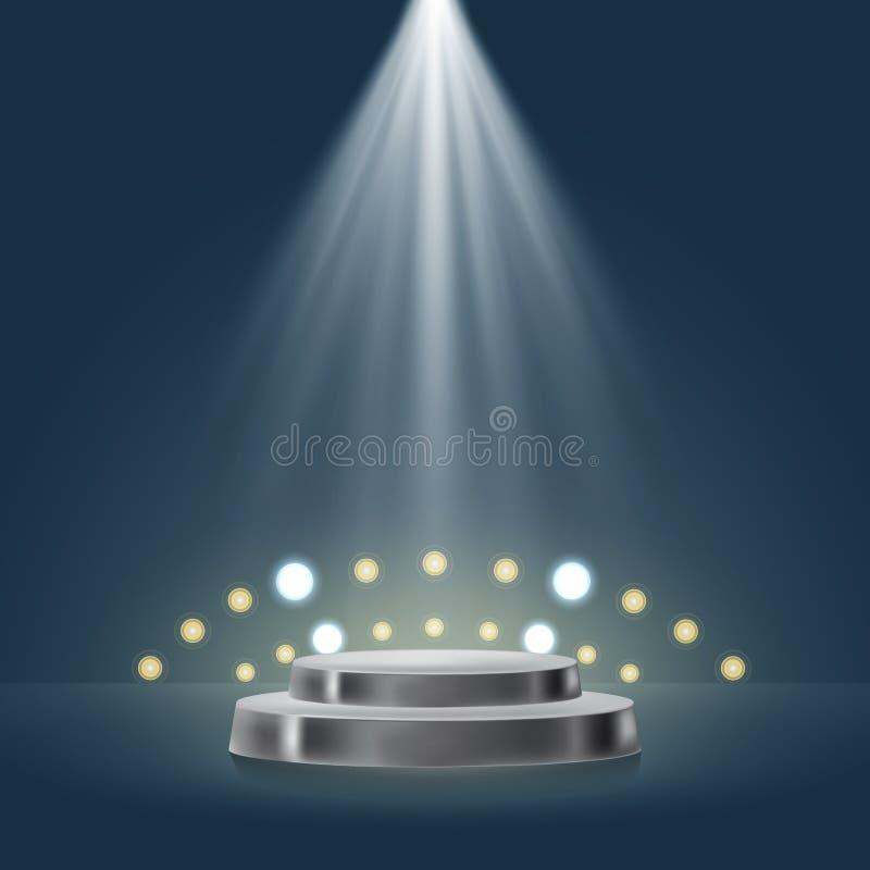 etapp 3D med sportljus i blå bakgrund vektor illustrationer