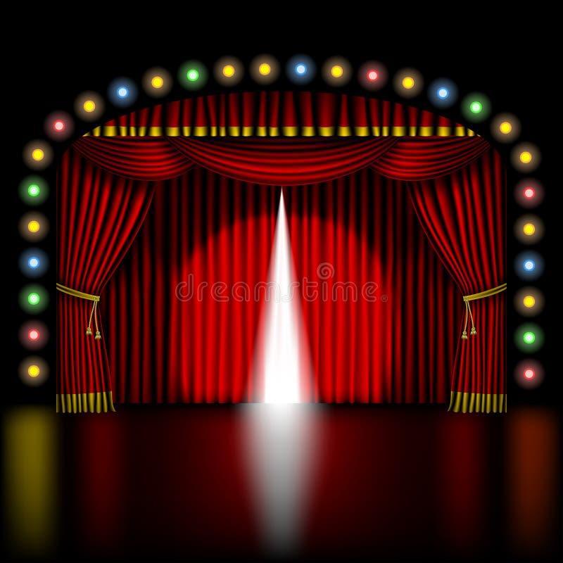 Etapp med att öppna den röda gardinen royaltyfri illustrationer