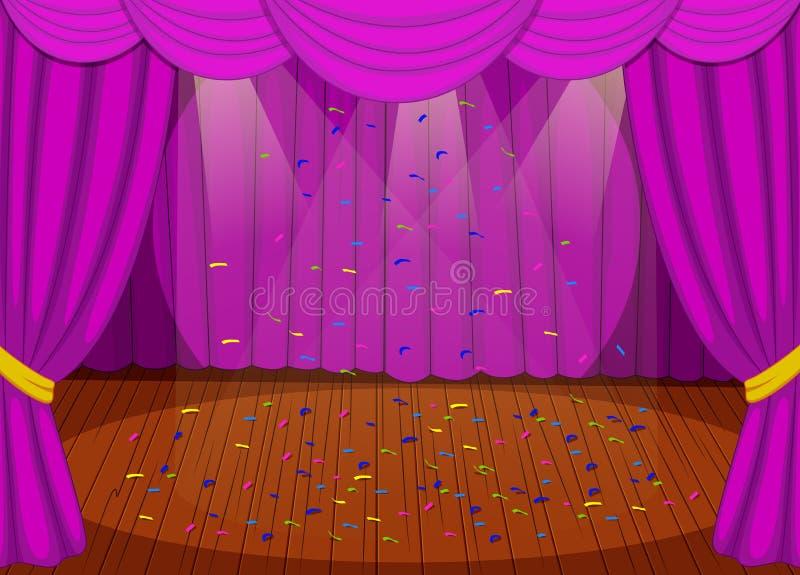 Etapp med purpurfärgade gardiner stock illustrationer