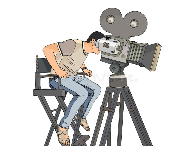 Etappdirektör på fastställd retro vektor för popkonst för objektbana för bakgrund clipping isolerad white videographer och kamera stock illustrationer