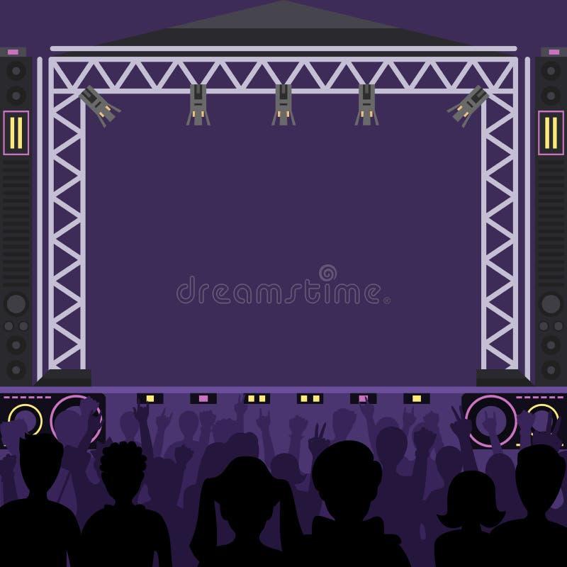 Etappen för musik för vektorn för konsertetappplatsen och nattkonserten festar Barnet poppar för zonfolk för gruppen den roliga f royaltyfri illustrationer