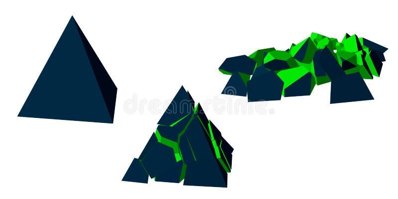 Etapper av förstörelse av pyramiden bakgrund isolerad white vektor illustrationer