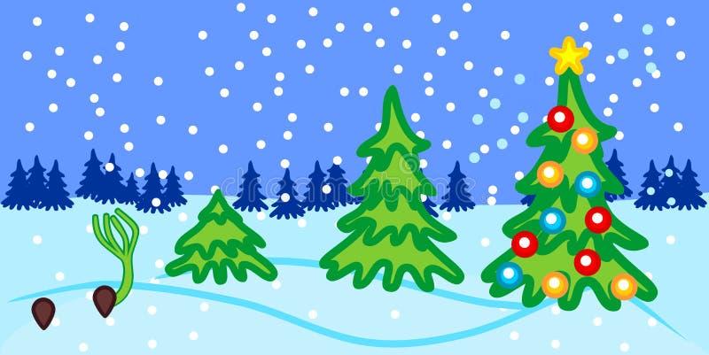 Etapper av tillväxt av granen från kärnar ur till julgranen med leksaker royaltyfri illustrationer