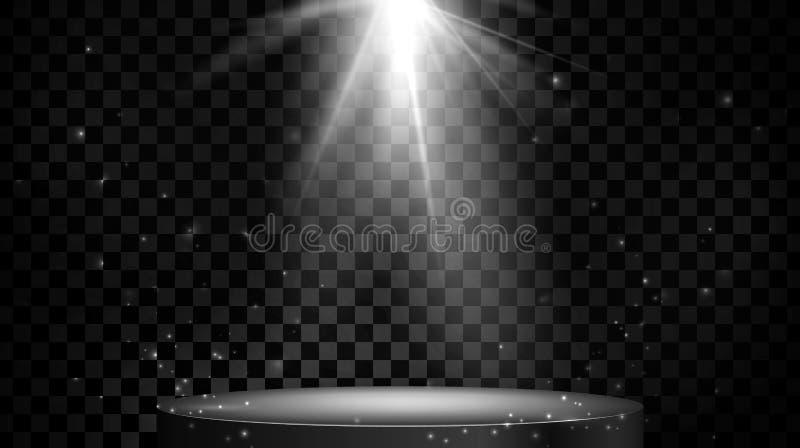 Etappfl?ckbelysning tomt podium Vektorillustration som isoleras p? genomskinlig bakgrund stock illustrationer