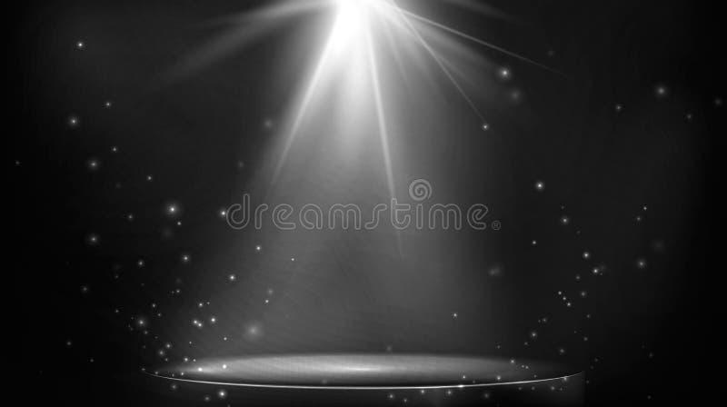 Etappfl?ckbelysning Tomt strålkastarbelyst podium på mörk bakgrund ocks? vektor f?r coreldrawillustration royaltyfri illustrationer