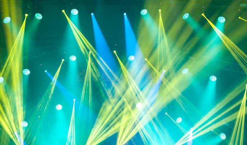 Etappljus på konsert Korridorflodljus för belysning equipment arkivfoto