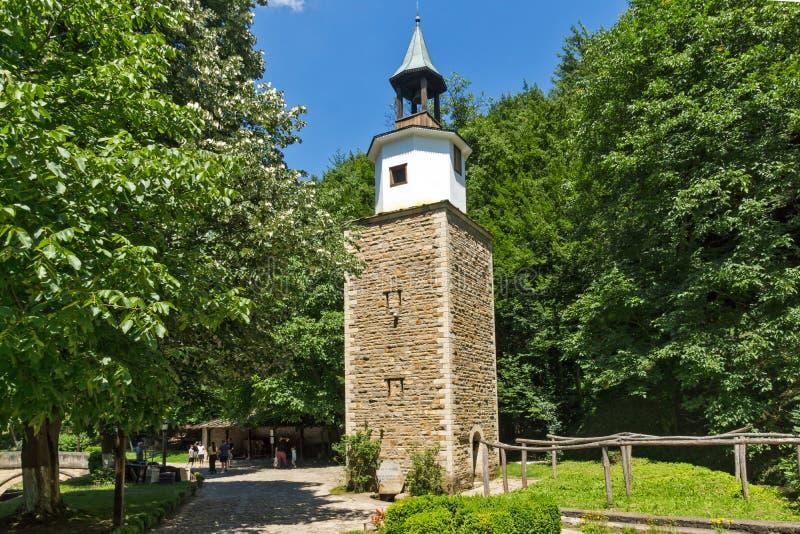 Clock tower in Architectural Ethnographic Complex Etar Etara near town of Gabrovo, Bulgar royalty free stock photos