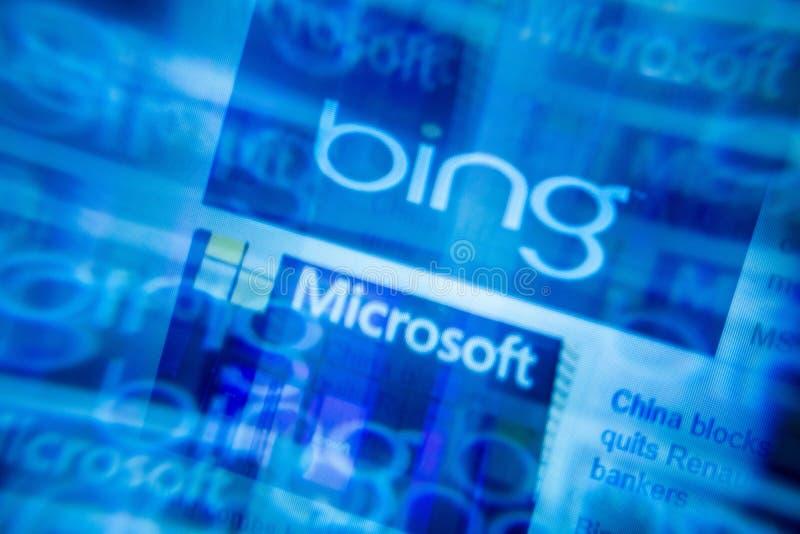 2019,1,28, Etats-Unis, San Francisco, fond bleu de terril abstrait de Microsoft Foyer sélectif Effet de problème, écran d'ordinat images stock