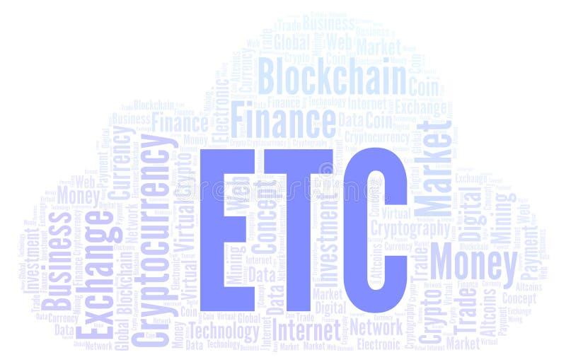 Etc. ou nuvem clássica da palavra da moeda do cryptocurrency de Ethereum ilustração do vetor