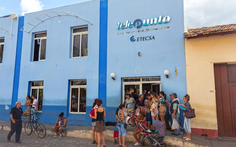 ETECSA Cuban Telecommunications Internet Office People Waiting in Line Trinidad Cuba royalty free stock image