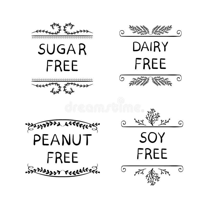 Eten de hand Geschetste VECTORpictogrammen voor Verpakking van Gezondheid Producten: Suiker, Pinda, Zuivelfabriek, Soja VRIJE Pro royalty-vrije illustratie