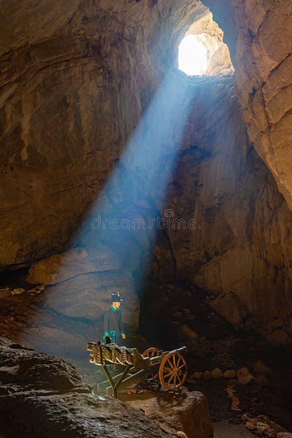 Eterans пещера расположена на левом береге Дунай в стене массива известняка вызвало конематку Ciucarul стоковое фото rf