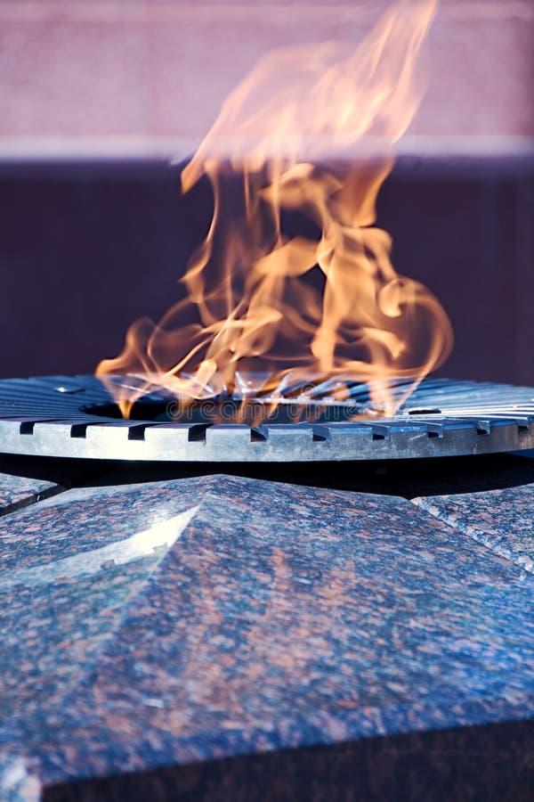 Eterflamman, minnet av soldater som dog i det stora patriotiska kriget Regionen Borovichi Novgorod royaltyfri foto