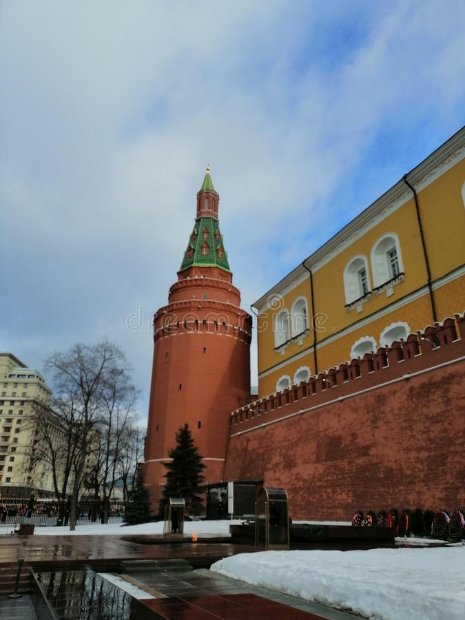 The eternal flame on the background of the Kremlin  towers royalty free stock images