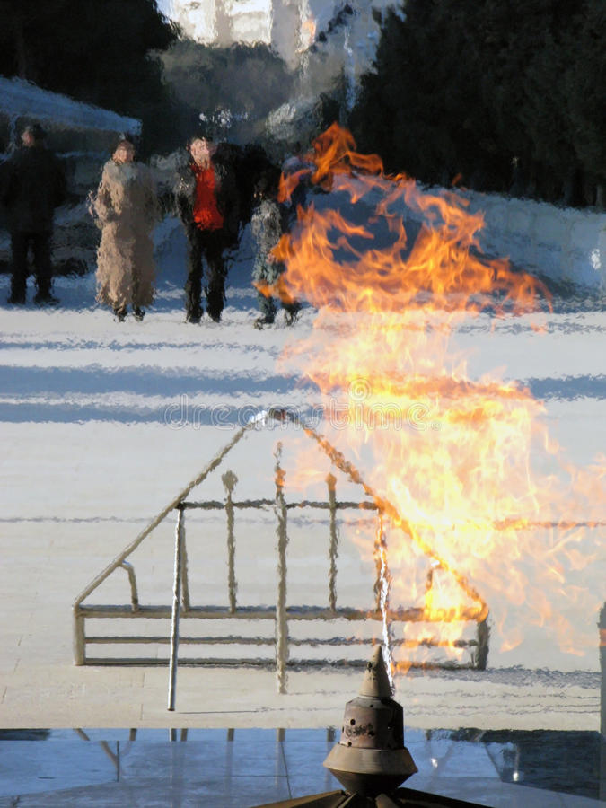 Eternal flame in Baku stock photo
