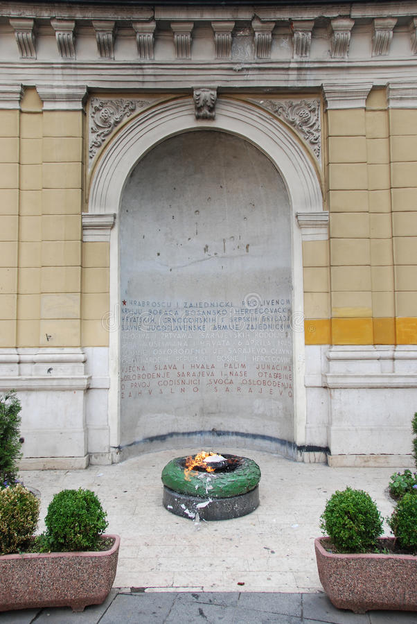 Eternal flame. In a memorial to the military and civilian victims of the Second World War in Sarajevo, Bosnia and Herzegovina stock image