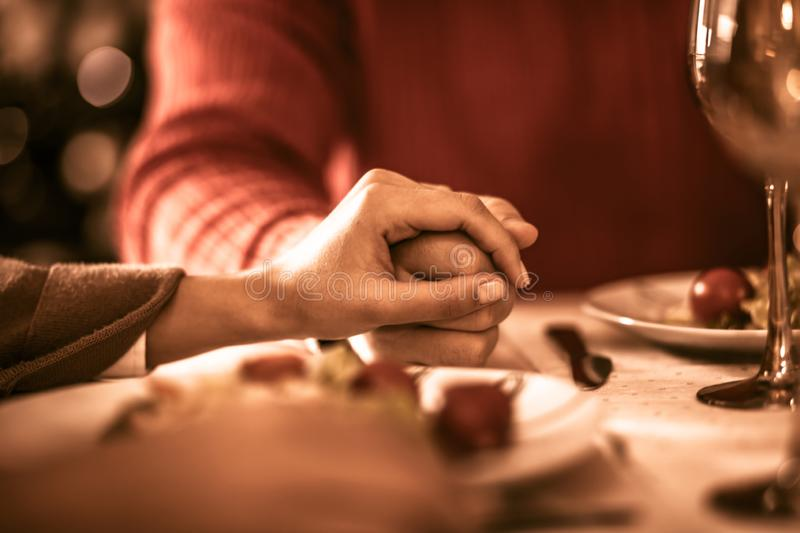 Eternal gratitude. Couple at home for Thanksgiving. Close up stock images