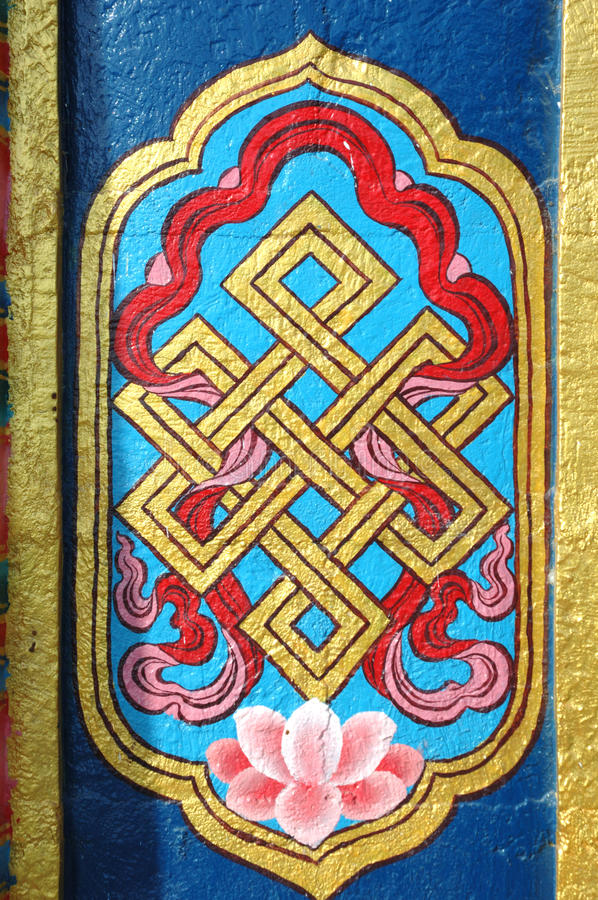 Eternal Knot Sacred Buddhist Symbol Stock Image Image Of Fresco