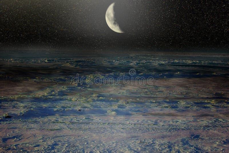 Eternal Polar night. Fantasy. Moonlight time above Arctic ocean. Eternal Polar night royalty free stock photography