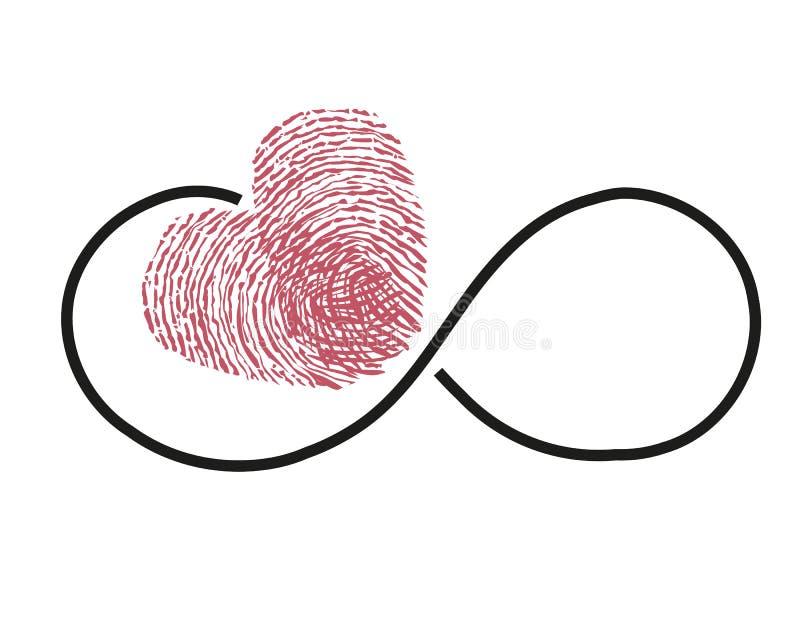 Eternidad con vector rojo del corazón de la huella dactilar stock de ilustración