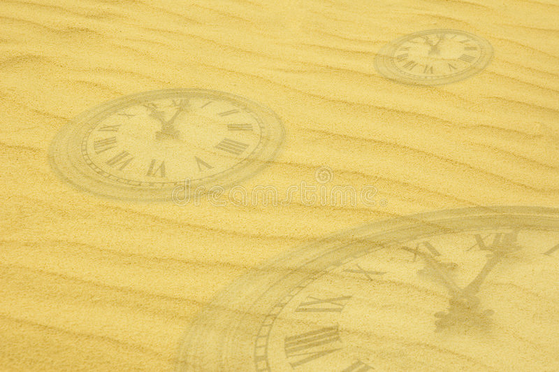 Download Eternity Background - Clock Faces Dissolving In Sand Royalty Free Stock Images - Image: 577829