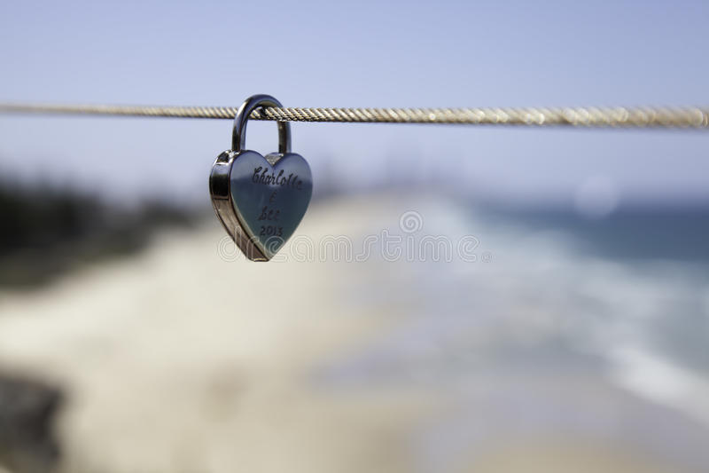 Eternity Lock. Eternity Love Lock on Wire royalty free stock photography