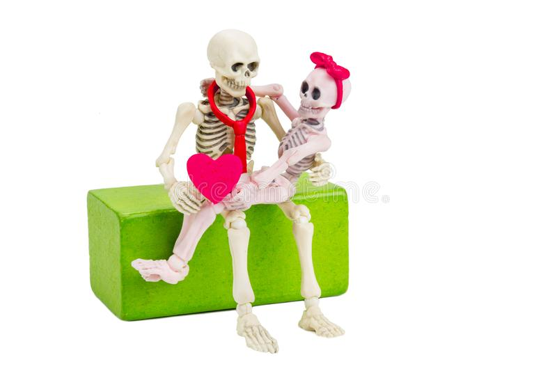 Eternity love. The couple sweetheart skeletons love each other until die, that represents to the eternity love in valentines stock photo