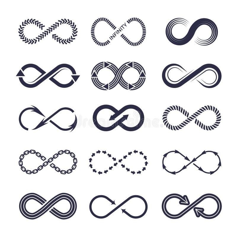 Eternity symbols. Vector monochrome icon collection of infinity logotypes vector illustration