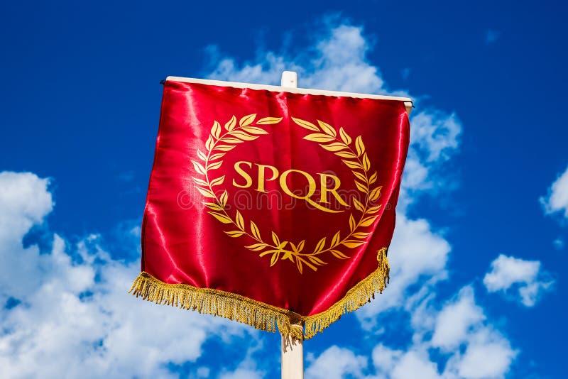 eternity Vexillum romano de SPQR imagens de stock