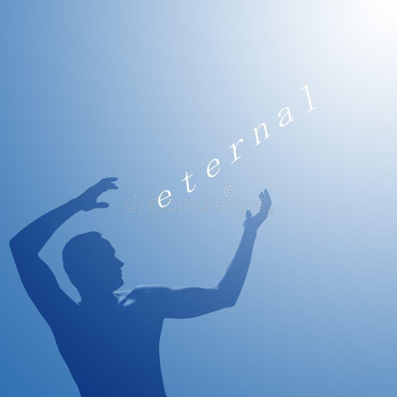 Eterno de la palabra escrito Sombra de un hombre que señala en luz eterna en fondo azul stock de ilustración
