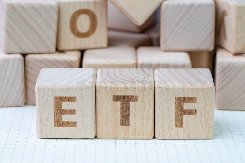 ETF, обмен торговал фондом, в реальном масштабе времени индексным фондом который может t стоковые фото