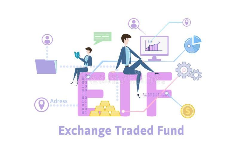 ETF, Austausch gehandelte Kapitalien Konzepttabelle mit Schlüsselwörtern, Buchstaben und Ikonen Farbige flache Vektorillustration stock abbildung