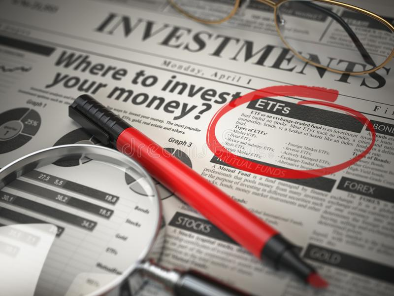 ETF is a best option to invest. Where to Invest concept, Investmets newspaper with loupe and marker. vector illustration