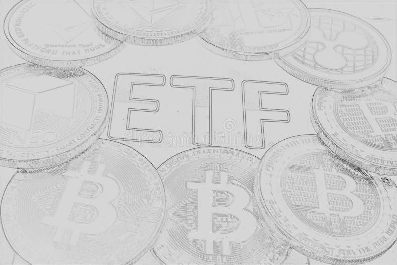 ETF crypto - el paso siguiente hacia un futuro decentrailzed para nuestro dinero - lápiz de ETF del bitcoin dibujado fotos de archivo