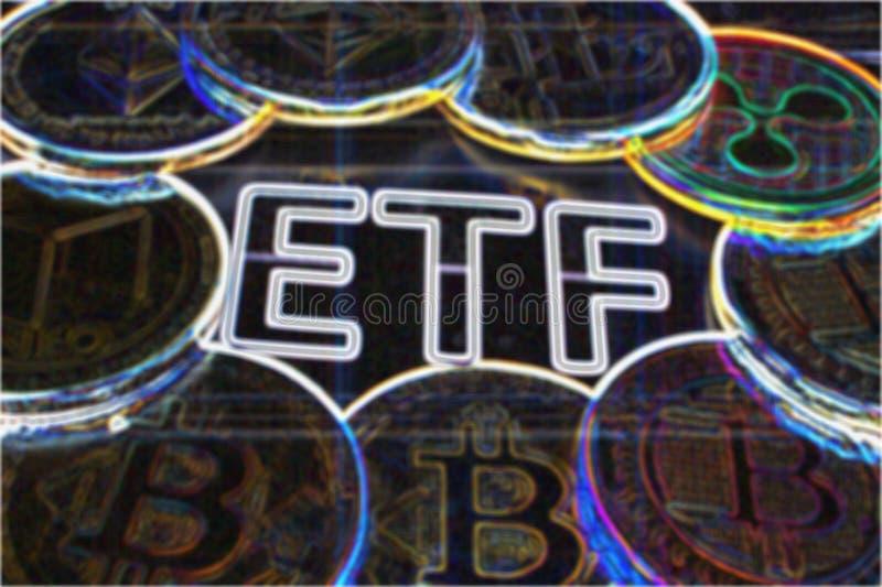 ETF crypto - el paso siguiente hacia un futuro decentrailzed para nuestro dinero - psychodelic colorido de ETF del bitcoin fotos de archivo