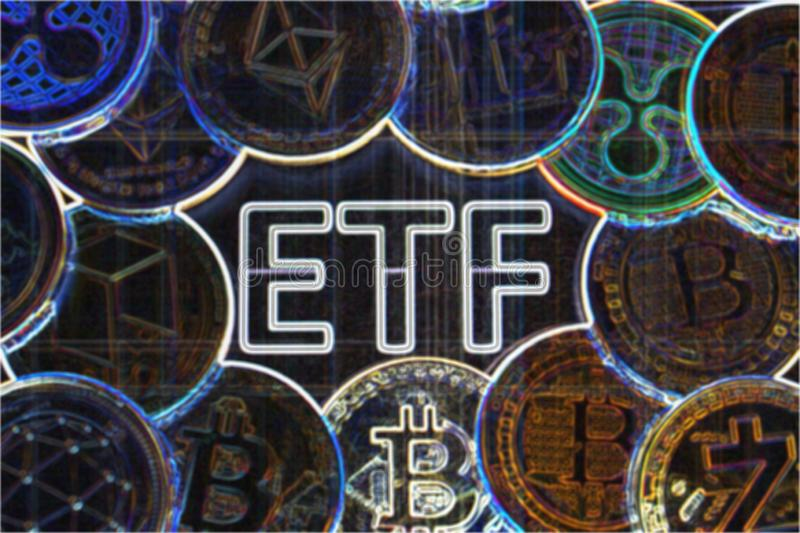 ETF crypto - el paso siguiente hacia un futuro decentrailzed para nuestro dinero - psychodelic colorido de ETF del bitcoin imágenes de archivo libres de regalías
