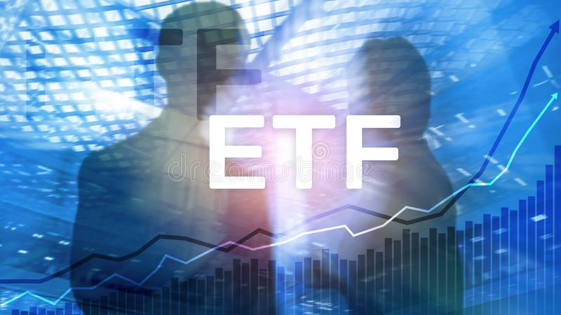 ETF - Exchange traded fund financial and trading tool. Business and investment concept. ETF - Exchange traded fund financial and trading tool. Business and royalty free stock image