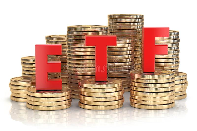 ETF exchange traded fund onthe stacks of golden coins. Stock exchenge and investment concept. vector illustration