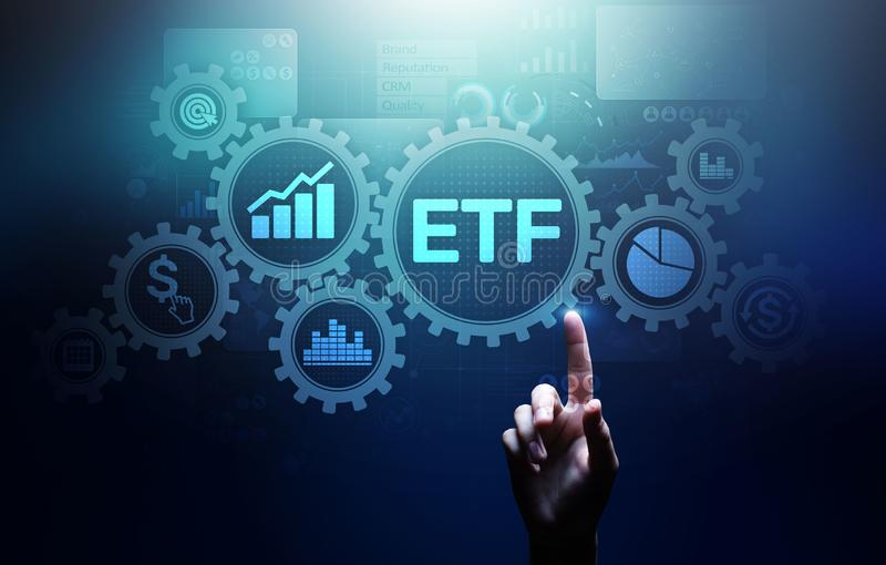 ETF Exchange traded fund Trading Investment Business finance concept on virtual screen. ETF Exchange traded fund Trading Investment Business finance concept on stock images