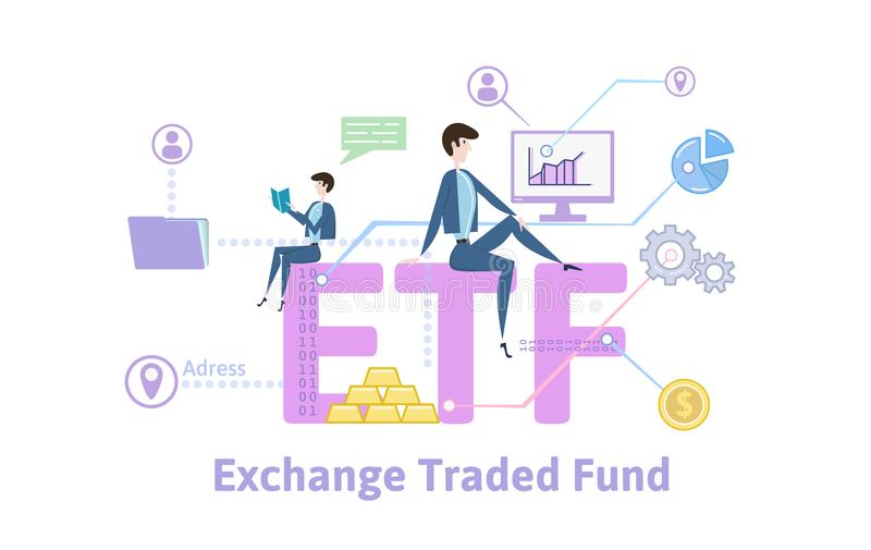 ETF, Exchange Traded Funds. Concept table with keywords, letters and icons. Colored flat vector illustration on white stock illustration