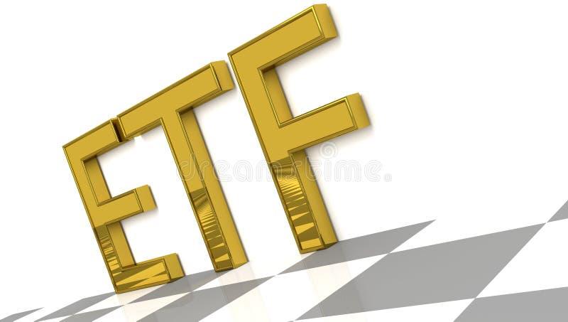 ETF firma dentro le lettere lucide dorate illustrazione vettoriale