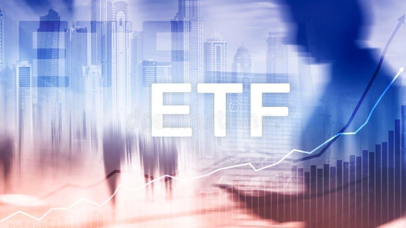 ETF - Lo scambio ha venduto l'affare del fondo dello strumento ed il concetto finanziari e commerciali di investimento immagine stock libera da diritti