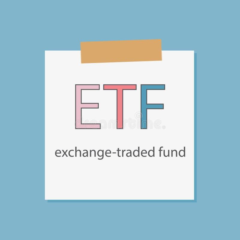 ETF uitwisseling-handel gedreven die fonds in notitieboekjedocument wordt geschreven royalty-vrije illustratie