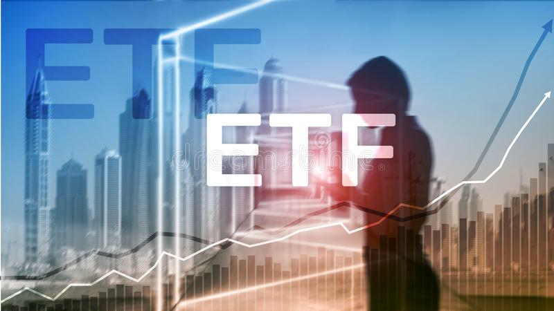 ETF - Uitwisseling verhandeld fonds financieel en handelhulpmiddel Bedrijfs en Investeringsconcept stock fotografie