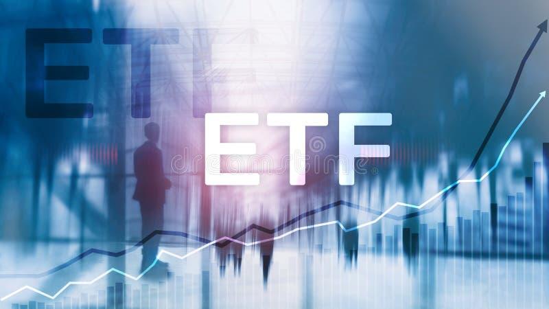 ETF - Utbyte finansiell handlad fond och handelhjälpmedel Affärs- och investeringbegrepp royaltyfria bilder