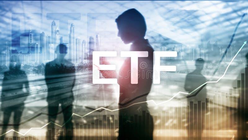 ETF - Utbyte finansiell handlad fond och handelhjälpmedel Affärs- och investeringbegrepp arkivbild