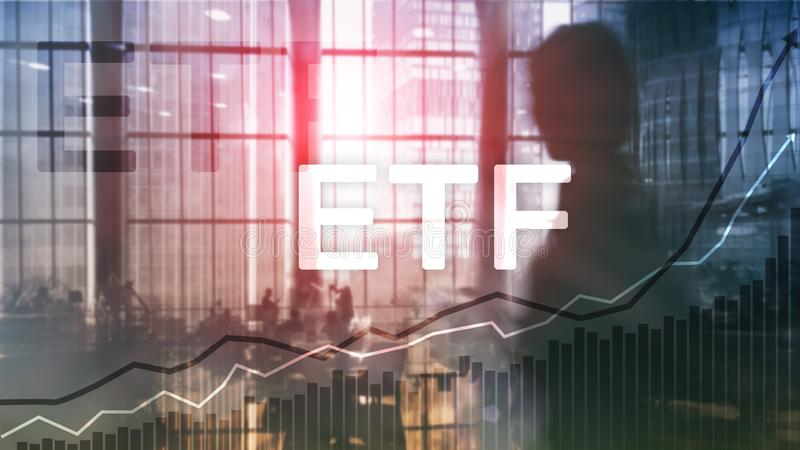 ETF - Utbyte finansiell handlad fond och handelhjälpmedel Affärs- och investeringbegrepp royaltyfria foton