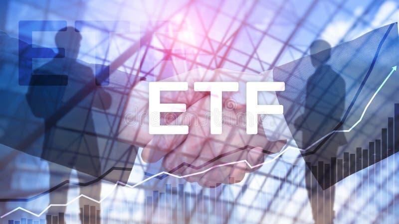 ETF - Wymiana handlujący fundusz pieniężny i handlu narzędzie Biznesowy I Inwestorski pojęcie zdjęcia stock