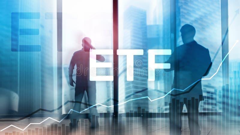 ETF - Wymiana handlujący fundusz pieniężny i handlu narzędzie Biznesowy I Inwestorski pojęcie obraz stock